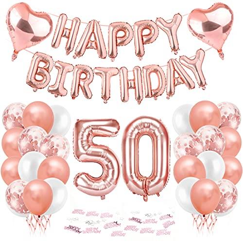 Compleanno Festa Decorazioni, 50 Anni Compleanno Decorazioni per Donna, Oro Rosa Striscione di Happy Birthday Numero Foil Palloncini Palloncini Lattice Ballon, feste per il trentesimo compleanno