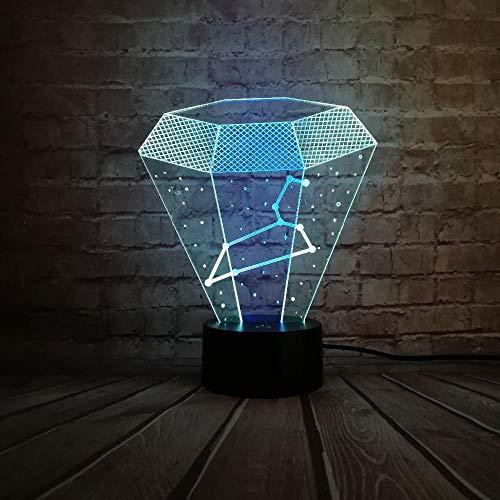 Yvvaceo® 3D Illusion LED Nachtlicht, Kreative Leo-Sternbildkarte 16 Farben Allmählich wechselnde Touch Switch USB Tischlampe für Weihnachtsgeschenke oder Wohnaccessoires