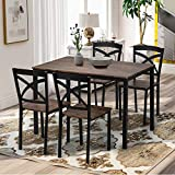 Merax 5 Piece Dining Table Set, Industrial Style Wood Dining Set with Metal Frame, Kitchen Table with 4 Chairs, Antique Brown