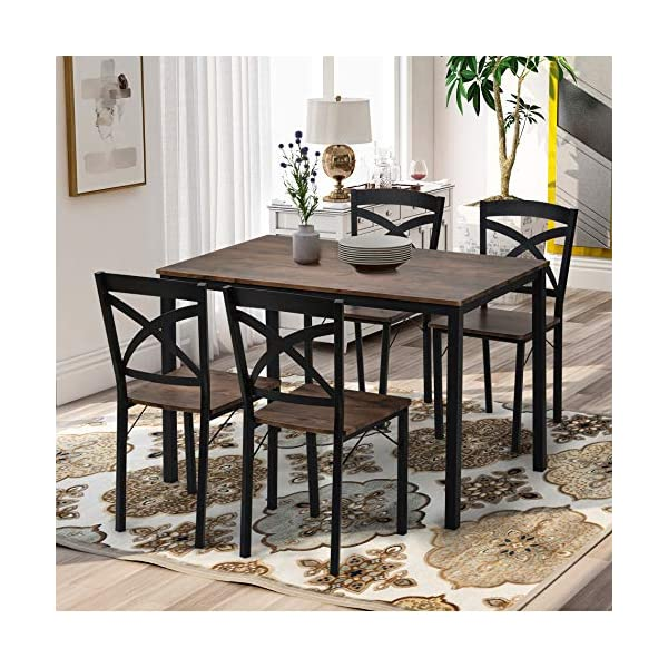 Merax 5 Piece Dining Table Set, Industrial Style Wood Dining Set with Metal Frame,...
