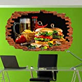 ioljk Adesivi murali 3D Fiore Cibo Hamburger Patatine Fritte Birra Arte Murale Poster Ufficio Negozio Decorazione Regalo di Natale