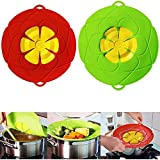 2 Pack Spill Stopper Lid Cover, 10.2 inch and 11 inch, Boil Over Safeguard Lids, Silicone Microwave Splatter Lid for Food, BPA-Free Silicone & Plastic and Dishwasher Safe, Green and Red