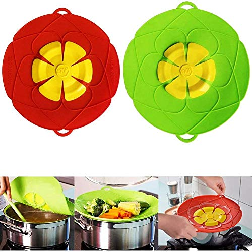 Spill Stopper Lid Cover, 10.2 inch and 11 inch, 2Pcs Boil Over Safeguard Lids, Silicone Spill Stopper Lid Splatter Guard Screens, Multi-Function Kitchen Cooking Tool, Green and Red