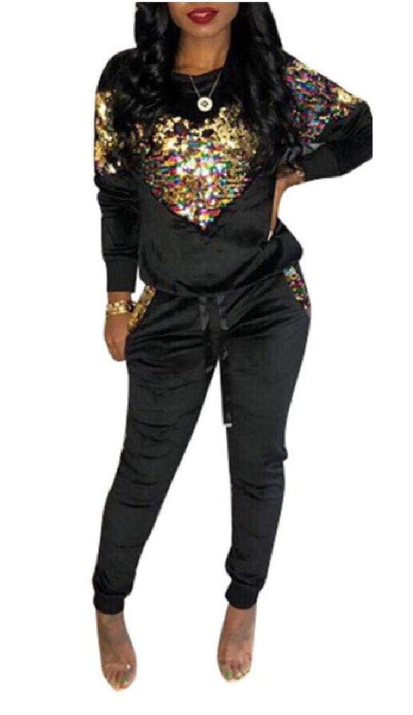 学校の先生遡るいつかKankanluck Womens Long-Sleeve Velvet Contrast Pullover Sequin Sport Tracksuit