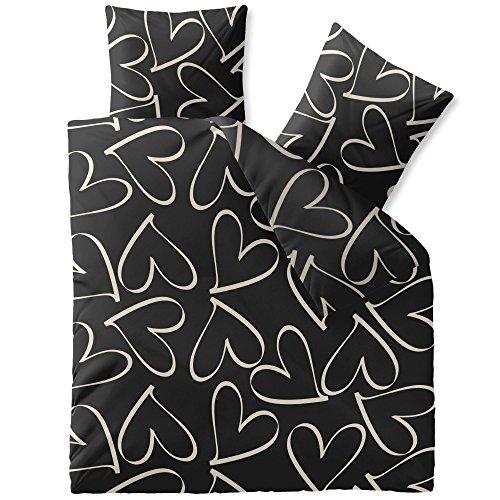 CelinaTex Fashion Coeurs Bettwäsche 135 x 200 cm 4teilig Baumwolle Herz Schwarz Weiß