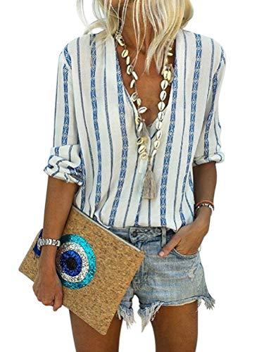 Minetom Bluse Damen Langarm Hemd Herbst und Sommer Böhmen T-Shirt Casual Boho V-Ausschnitt Streifen Tunika Tops Chic Oberteil D Blau 42