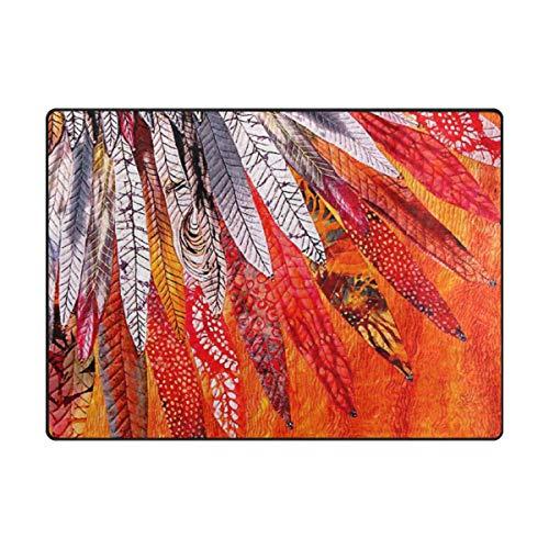 LUPINZ Teppich, amerikanische indische Feder, orangener Teppich, rechteckig, für den Eingangsbereich, hält Ihren Teppich an Ort und Stelle, ideal für rutschfeste Ecken, Polyester, 1, 63 x 48 inch