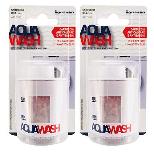 AQUASAN Cartuccia Ricambio per Aquawash - Filtro Anticalcare Per Lavatrice Lavastoviglie in Polifosfato Protegge i Tuoi Elettrodomestici Filtra Sabbia e Terra Evita Formazione di Calcare (2 pezzi)