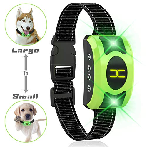 Valoinus 2020 Upgraded Dog Barking Collar with Breathing Light, Smart Dog Training Anti Bark with Beep Vibration Harmless Shock for Small Medium Large Dogs,Rechargeable and Waterproof