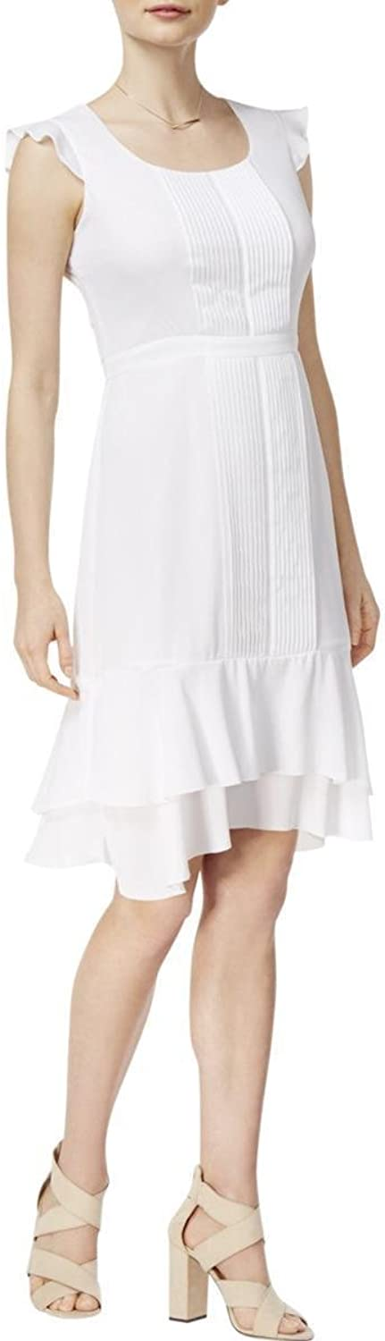 Maison Jules Pleated FlutterSleeve Dress