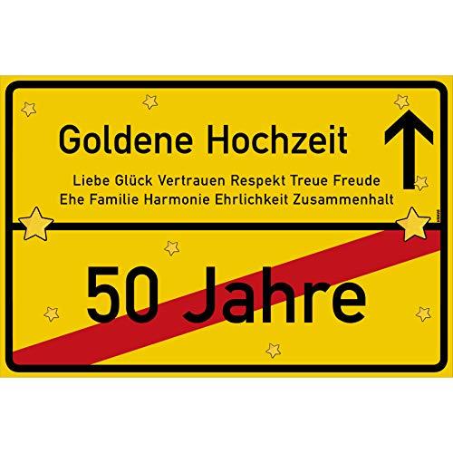 vanva Goldene Hochzeit Schild Goldene Hochzeit Ortsschild 30x20 cm Liebe Hochzeit 50. Hochzeitstag Party Deko Geschenke Dekoration Hochzeits-Deko Goldene Hochzeit Geschenkideen