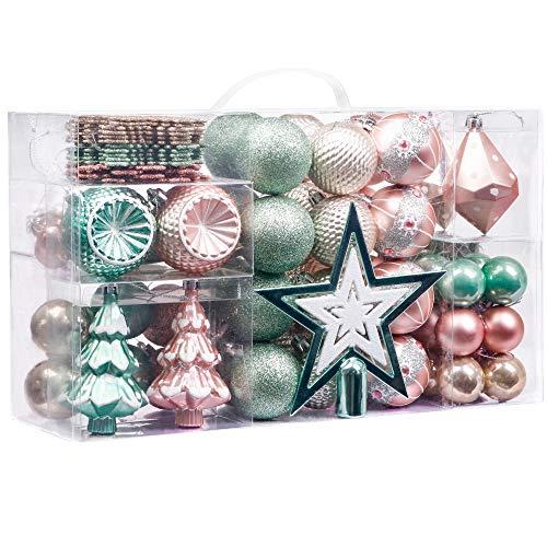 Valery Madelyn Weihnachtskugeln 100 TLG 4-17cm Plastik Christbaumkugeln Weihnachtsdeko mit Baumspitze und passende Aufhänger Baumschmuck Eleganter Palast Thema Mintgrün Rosa Gold MEHRWEG Verpackung