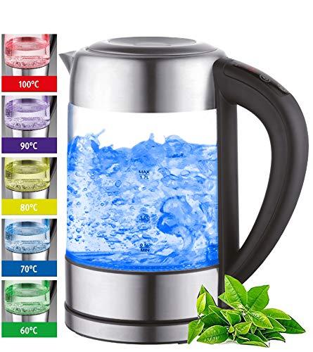 Glas Wasserkocher 1,7 Liter | 2200 Watt | Edelstahl mit Temperaturwahl | Teekocher | 100{783aca5afdf56970fccf460aadb4362e0927c495dd32b4cb8201d12885d1b391} BPA FREI | Warmhaltefunktion | LED Beleuchtung im Farbwechsel | Temperatureinstellung (60°C-100°C)