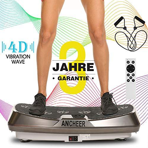 ANCHEER Vibrationsplatte 4D Fitness Dual-Motor Vibrationsplatte mit Großer Rutschsicherer Fläche, Curved Design & LCD Display | Inkl. Fernbedienung, Trainingsbänder- Amazon Versand!