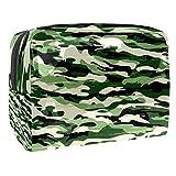 Bolsa de Maquillaje Camuflaje Verde Militar Neceser de Cosméticos y Organizador de Baño Neceser de Viaje Bolsa de Lavar para Hombre y Mujer 18.5x7.5x13cm
