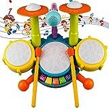 BIUNIY Batería para Niños, Instrumento Musical con 2 Baquetas Y Ritmos De Luz De Flash Y Micrófono Ajustable para Niños Y Niñas De 1 A 3 Años,Azul