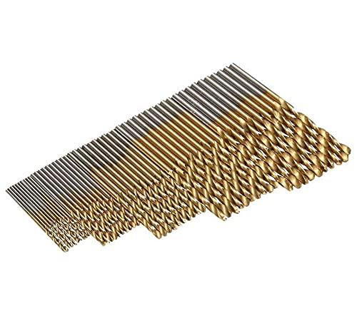 50pcs High Speed Steel Twist Drill 1.0/1.5/2.0/2.5/3 0mm Titan Coated HSS Drill Wood Hand Tools Drill Set