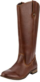 SheSole Women's Fashion Genuine Leather Knee High Riding Boot Wide Calf Button