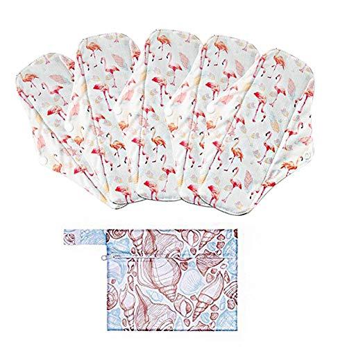perfecti 5 Piezas Compresas De Tela Reutilizables, Compresas Lavables Ecologicas De Algodón para Mujer con Alas, para Menstruación, Postparto, Incontinencia, 18 cm