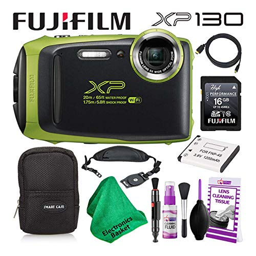 Fujifilm FinePix XP130 (600019825) Waterproof Digital Camera (Lime) Budget-Friendly Camera Accessory Bundle Includes Camera Cleaning Kit, Zippered Carrying Case, and Lots More