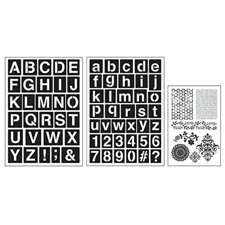 Cart Art-C San Serif Alphabets Stamp and Adhesive Stencil Set