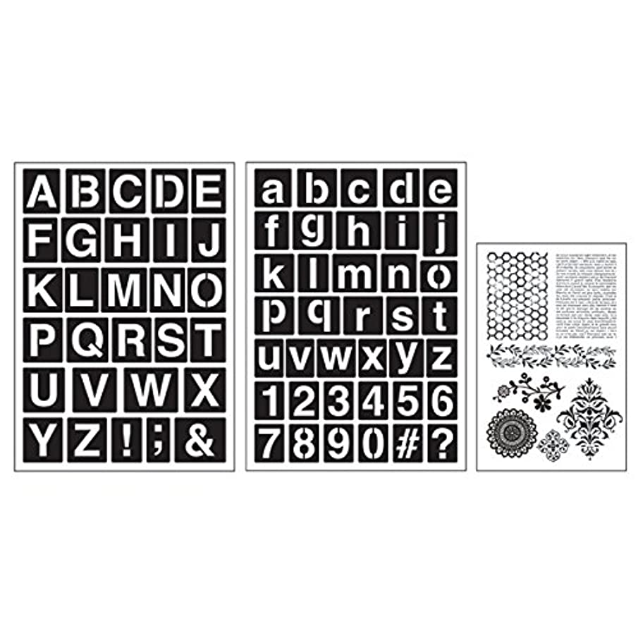 Cart Art-C San Serif Alphabets Stamp and Adhesive Stencil Set