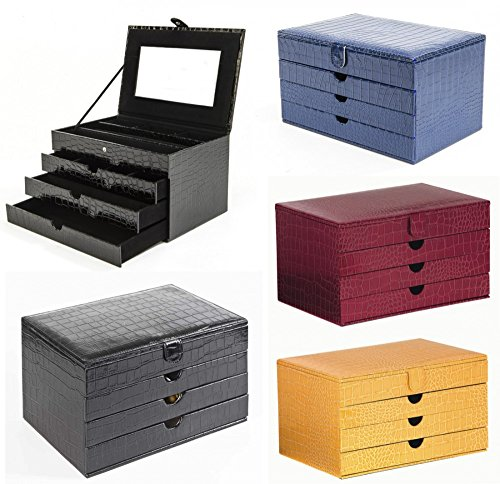 Edler stilvoller LUXOR LUXUS Schmuckkoffer Schmuckkasten NEU Schmuckschatulle, Farbe:blau