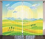 ABAKUHAUS País Cortinas, Soleado Paisaje Rural, Sala de Estar Dormitorio Cortinas Ventana Set de Dos Paños, 280 x 260 cm, Amarillo Verde