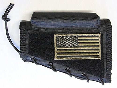 M1SURPLUS Black Color Cheek Rest + Patriot USA Flag Morale Patch + Detachable Pouch Fits Ruger 10/22 American Mini14 Mini30 Ranch 77/22 M77 Gunsite Scout Rifles
