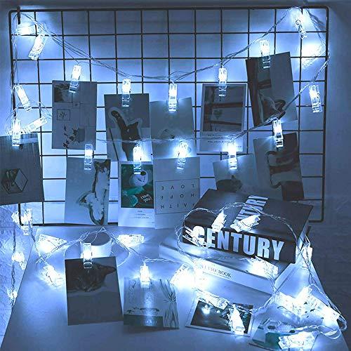 Vetrineinrete 10 mollette clips porta foto luci led stringa catena luminosa da parete filo trasparente 1,5 metri lucine decorative a batteria (Luce bianca) D52