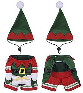 Yunt - Costume de lutin de Noël pour animal domestique avec bonnet et manteau, pour chat, chiot, chien