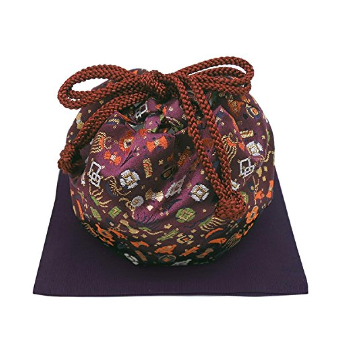 縮れた信頼性のある彫刻御所袋 大 フクサ付 紫系
