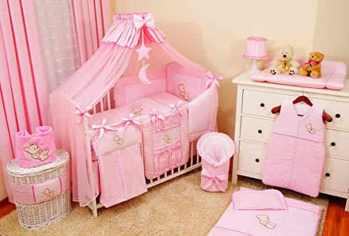 Juego XL ropa de cama cuna de 11 elementos bordada con mosquitera, 100{7832c5c9022ccf79d665a9d4f1697dd51fdaecab56aa39d7c5930313f66c5e28} algodón - lleva un bordado: un osito en la luna para niña y niño, de recién nacido