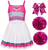 Girls Cheerleader Costume Cheerleading Outfit Fancy Dress for Halloween Party Birthday Pink 7-8Years