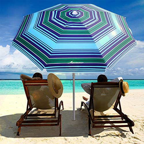 MOVTOTOP Beach Umbrella, 6.5ft Patio Umbrella with Tilt Mechanism, Portable UV 50+ Protection Beach Umbrella with Carry Bag for Outdoor Patio (Royal Blue Green Stripe)
