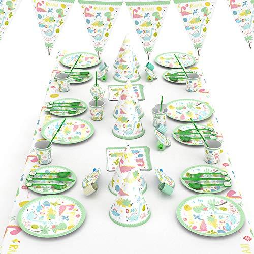 mreechan Set de Fiesta de Dinosaurio, Vajilla desechable,cumpleaños Supplies Set Contiene manteles,...