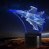 Avión de luz nocturna 3D volando hacia el cielo Lámpara de ilusión LED, Regalo para amigo, Cambio colorido, USB alimentado, G - Control de Telefonía Móvil