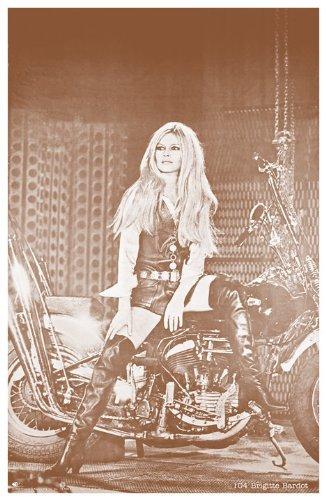 "Brigitte Bardot on Harley Davidson Motorcycle 11"" X 14"" Sepia Poster"