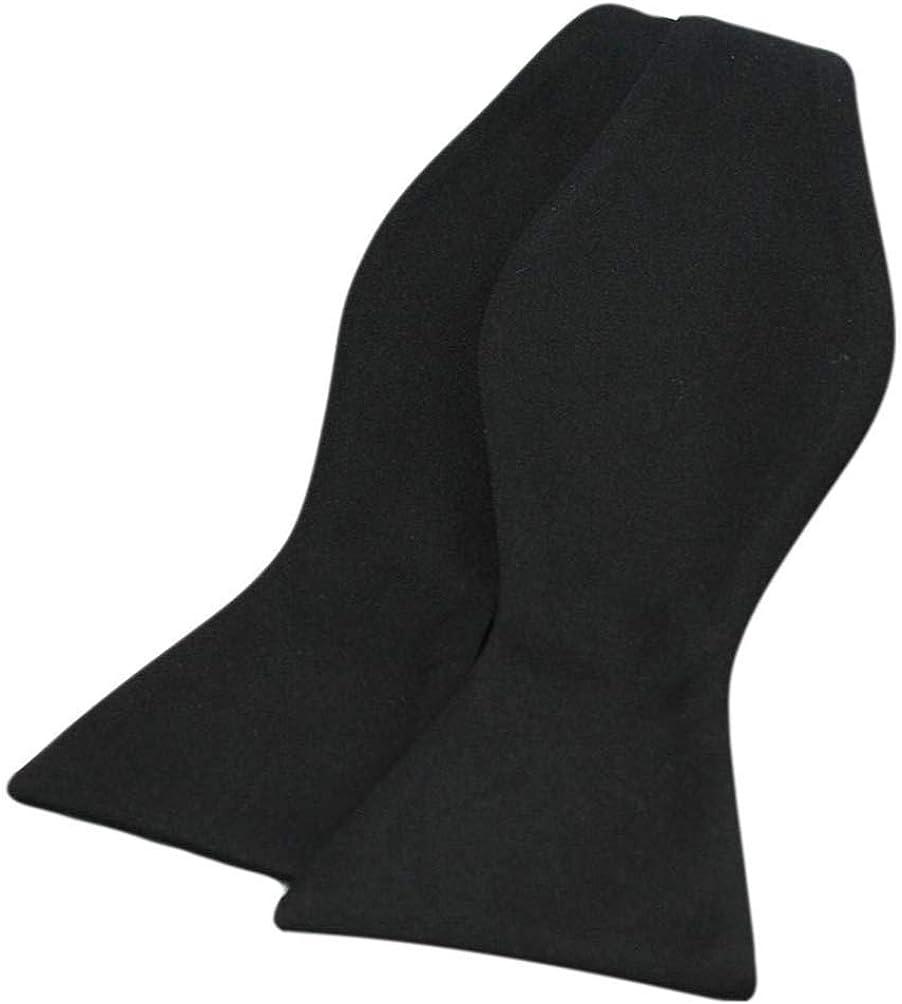 David Van Hagen Mens Black Satin Polyester Self Tie Bow Tie - Black