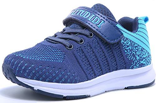 GUFANSI Tennisschuhe 37EU Kinder Sportschuhe Sneaker Laufschuhe Mädchen Jungen Klettverschluss Sport Schuhe Mesh Atmungsaktiv Hallenschuhe Halle Turnschuhe Low-Top Blau Draussen(Navy Blau,37EU)
