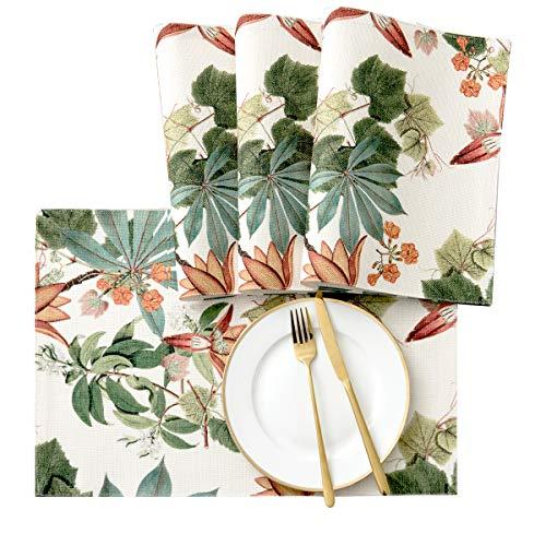 subrtex Lino Manteles Individuales Impermeable Lavable Antideslizante Resistente al Calor Flores Diseño(Azalea, 4pcs)