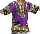 RaanPahMuang Unisex African Bright Dashiki Cotton Shirt Variety Colors, Large, Purple