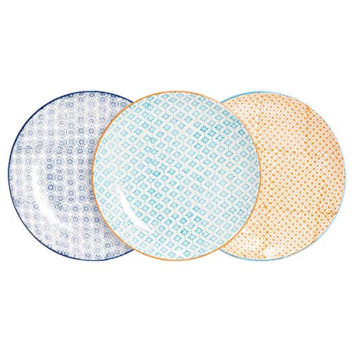 Nicola Spring 6 Piece Hand-Printed Dinner Plate Set - Japanese Style Porcelain Dining Plates - 3 Colours - 25.5cm