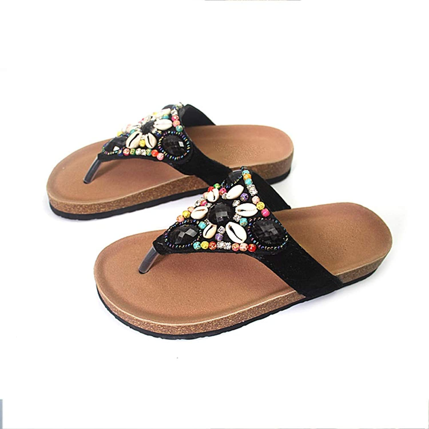 WANGFANG Sandals Women's Slippers, Summer Comfortable Shell Cork Slippers Flip Flops Beach Slippers, Four colors (color   Black, Size   US7 EU38 UK5 MX4.5 CN38)