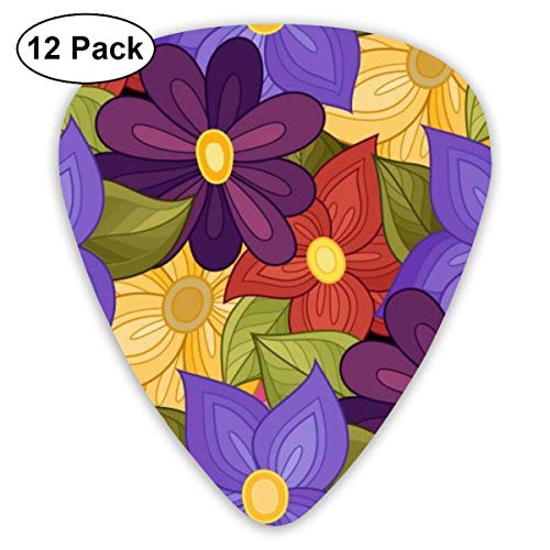 Many Purple Flower Guitar Picks (12-Pack) Picks for Acoustic Electric Guitars Bass Or Ukulele Includes Thin, Medium, Heavy Gauges