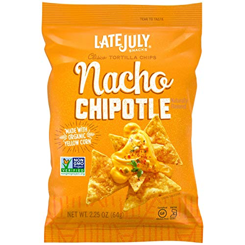 LATE JULY Snacks Clásico Nacho Chipotle Tortilla Chips, Multi Pack Box, 2.25 oz, 24 count