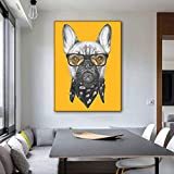 Pintura sin Marco Art Dog with Glasses Animal Canvas Poster Wall Living Room Poster decoración del hogarZGQ5982 50X70cm