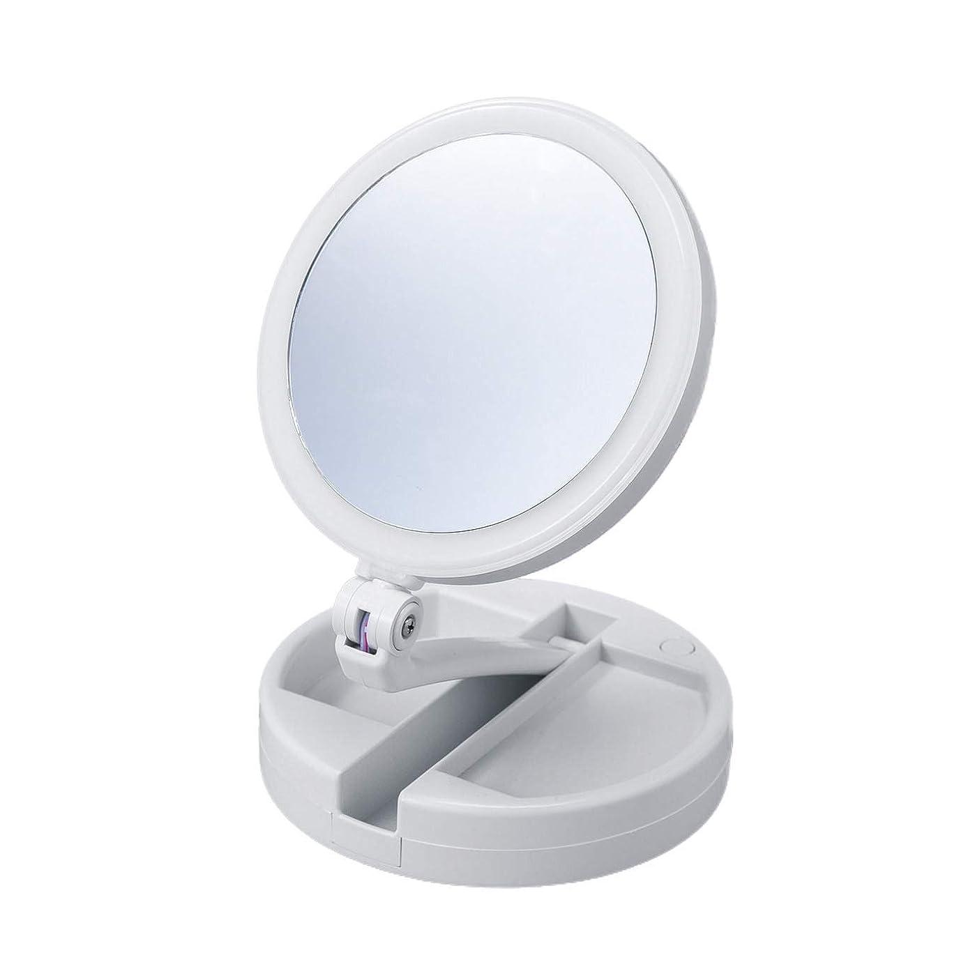 水差しクリア接地たためる10倍拡大鏡付きの2面ミラー(ライト付) 卓上 スタンドミラー 化粧鏡 メイク 小物入れ