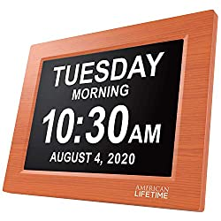 Newest Version, American Lifetime, Day Clock Extra Large Impaired Vision Digital Clock with Battery Backup and 5 Alarm Options, Brown Wood