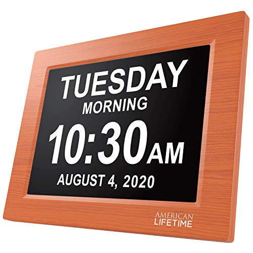 American Lifetime [Newest Version] Day Clock - Extra Large Impaired Vision Digital Clock with Battery Backup & 5 Alarm Options (Brown Wood Color)